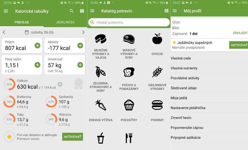 Kalorické tabuľky aplikácia