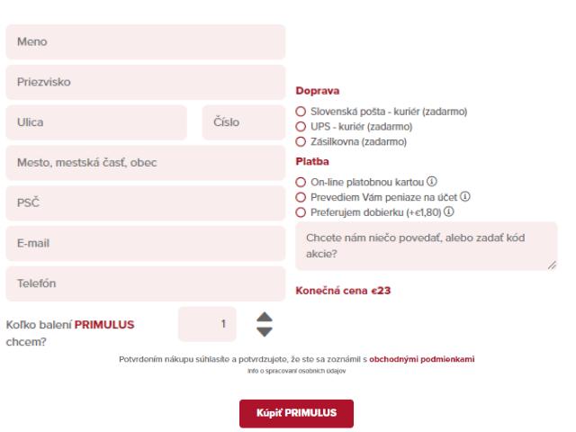 Objednávací formulár na kúpu tabletiek Primulus