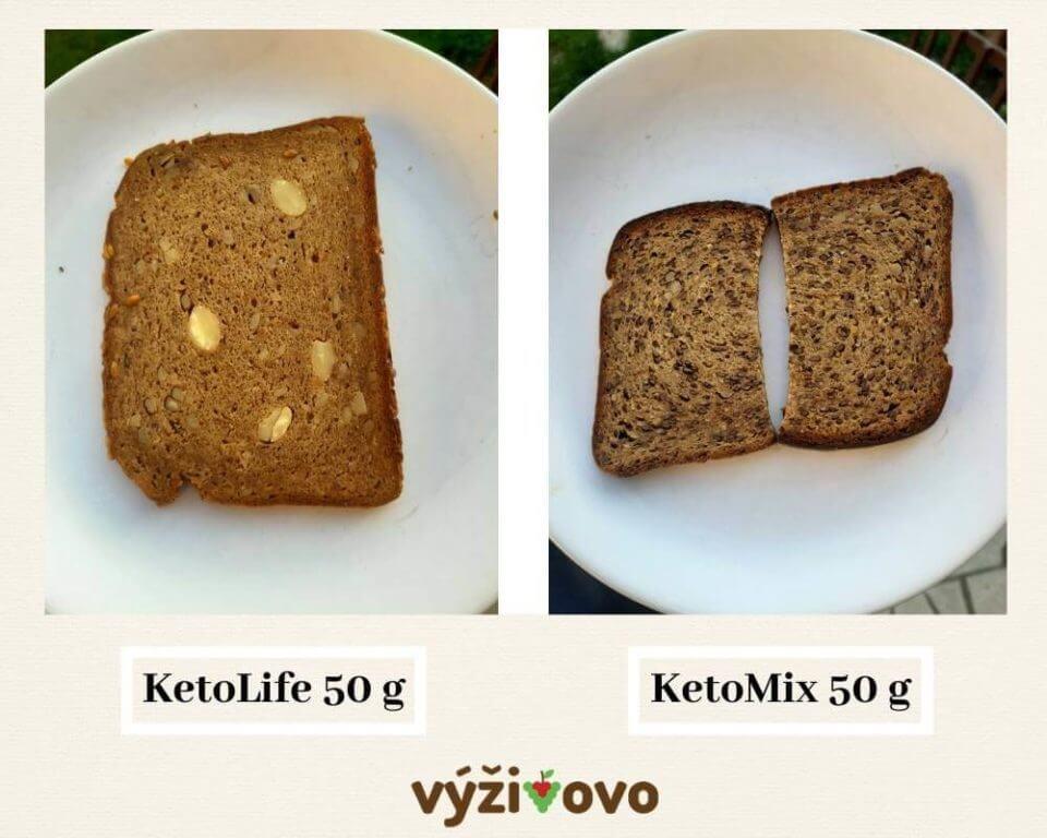 Porovnanie proteínového chleba KetoLife s kúskami mandlí a KetoMix cereálneho chleba s ľanovými semienkami