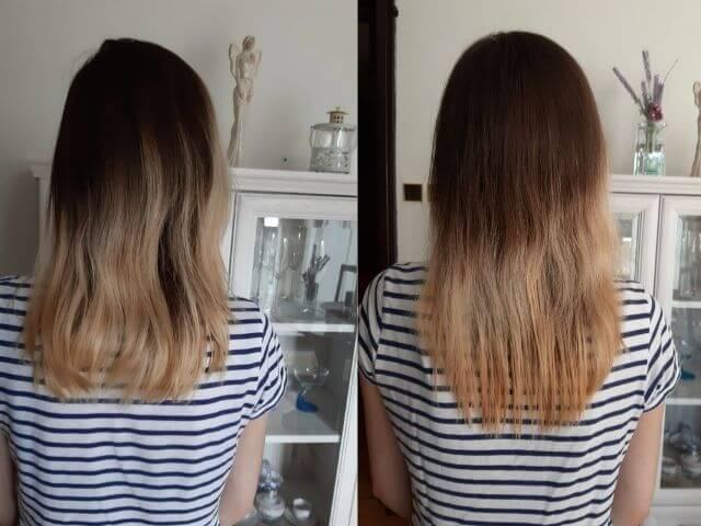 Dĺžka vlasov pred a po Venira 40-dňovej vlasovej kúre