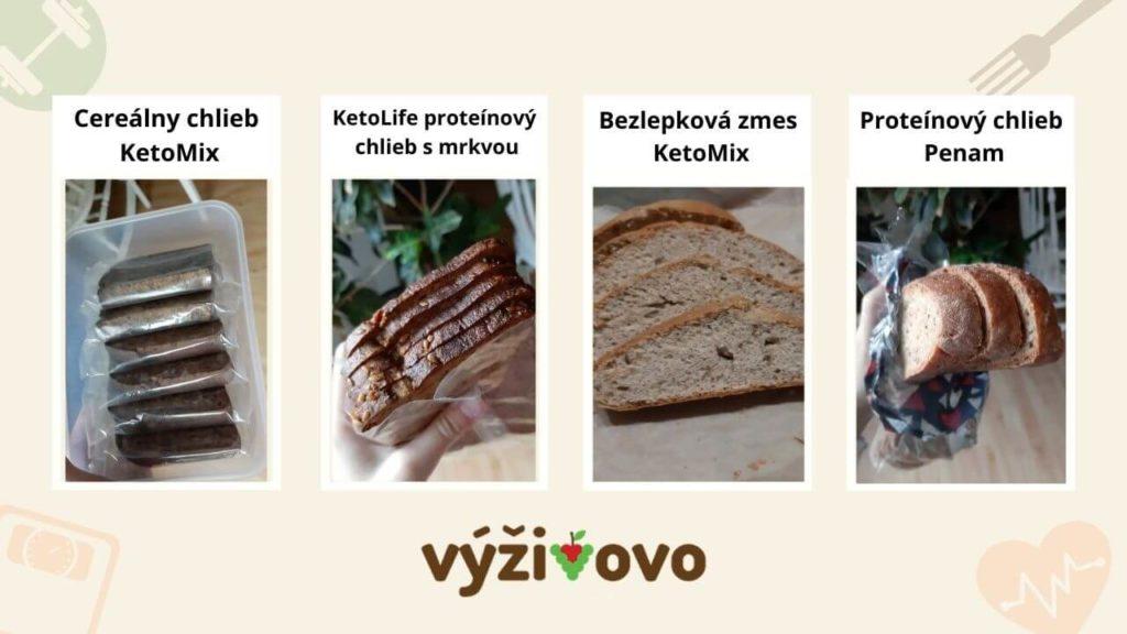 Porovnaní jednotlivých balení proteínových chlebov KetoMix, Penam a KetoLife