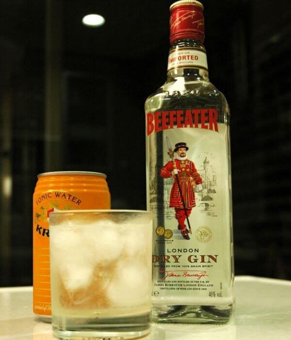 Beefeater London Dry Gin s kockami ľadu